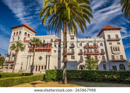 ST. AUGUSTINE, FLORIDA - JANUARY 18, 2015 : Casa Monica Hotel in St. Augustine. Opened in 1888, it is one of the oldest hotels in the United States. - stock photo
