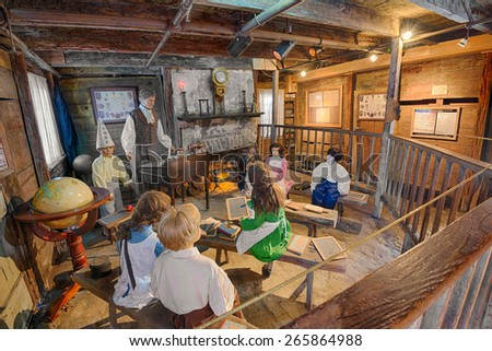 ST. AUGUSTINE, FLORIDA - JANUARY 18, 2015 : Interior of the Oldest Wooden Schoolhouse in the United States. The construction date is unknown, but it first appeared on tax records in 1716. - stock photo