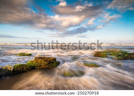 St. Augustine Florida Scenic Beach Ocean Landscape with crashing waves near Palm Coast state park beaches - stock photo