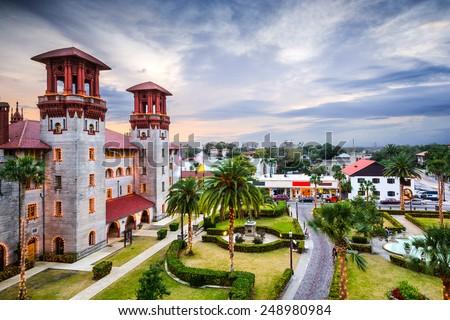 St. Augustine, Florida, USA city hall and Alcazar Courtyard. - stock photo