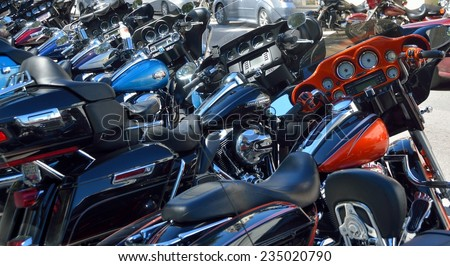 ST. AUGUSTINE, FLORIDA, USA - OCT 17:  Motorcycles parked along Cathedral Place during Bikers Week. This event was at historic St. Augustine, Florida on October 17, 2014. - stock photo