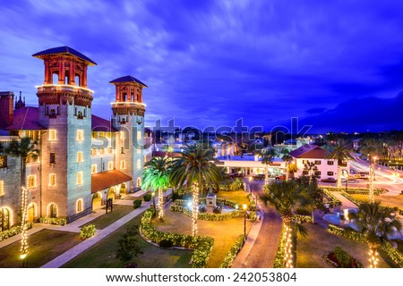 St. Augustine, Florida, USA townscape over Alcazar Courtyard. - stock photo