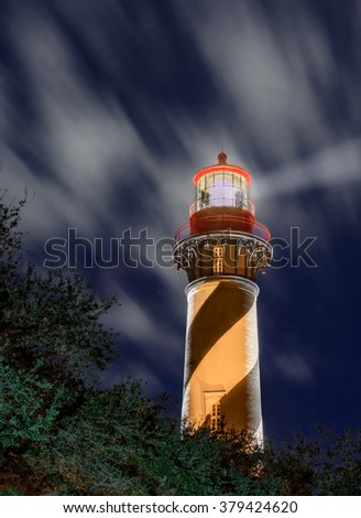St Augustine lighthouse at night - stock photo