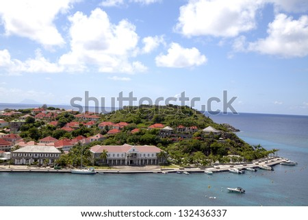 ST BARTHS, FRENCH WEST INDIES - NOVEMBER 6:Aerial view at  Gustavia Harbor on November 6, 2012 at St Barth. The island is popular tourist destination during the winter holiday season