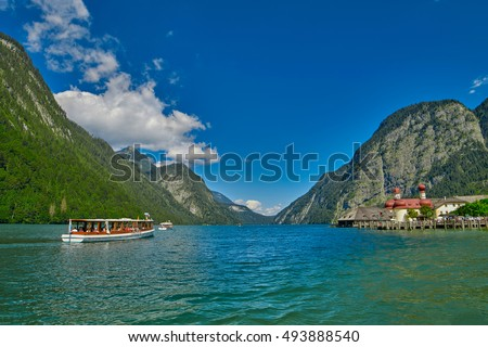 St.Bartolomei Monastery Church on Konigsee lake of German Bavaria