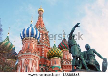 St. Basil Cathedral and monument to Minin and Pozharskiy, Red Square, Moscow, Russia. - stock photo
