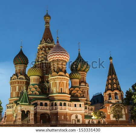 St. Basil Cathedral in the evening, Red Square, Moscow, Russia - stock photo