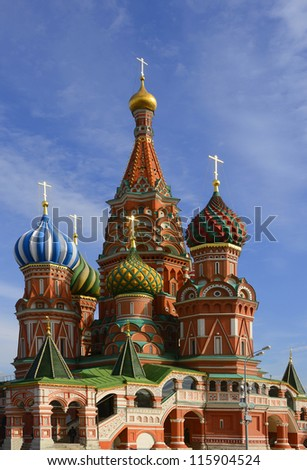 St. Basil Cathedral on Red square, (Cathedral of the Protection of the Virgin on the Ditch), Moscow, Russia - stock photo