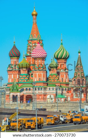 St. Basil Cathedral on Red Square in Moscow, Russia. - stock photo