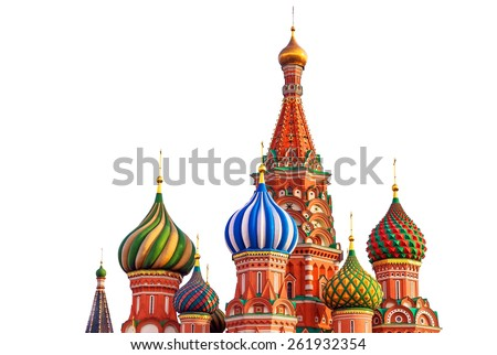 St. Basil cathedral on Red Square in Moscow, Russia, isolated on white background - stock photo