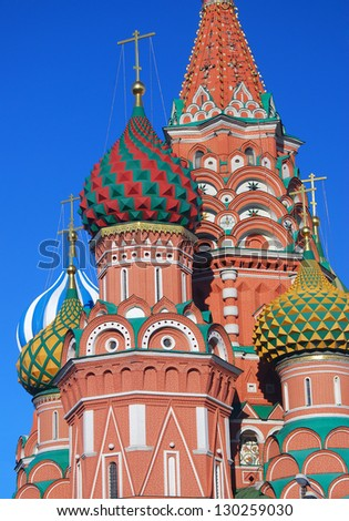 St. Basil Cathedral, Red Square, Moscow, Russia. UNESCO World Heritage Site. - stock photo