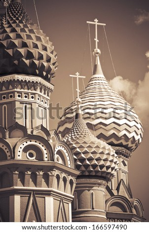 St Basil's cathedral at the Red square, Moscow, Russia - stock photo