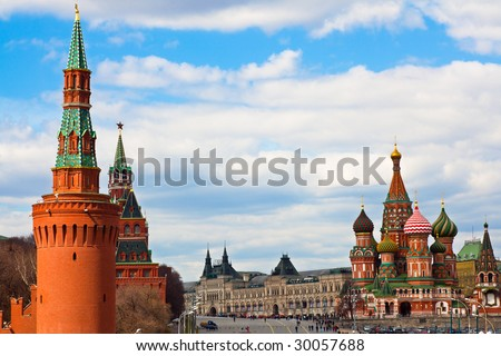 St. Basil's cathedral on Red Square and Kremlin towers in Moscow,Russia - stock photo