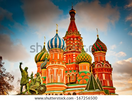 St. Basil's Cathedral on Red square at sunset in Moscow, Russia - stock photo