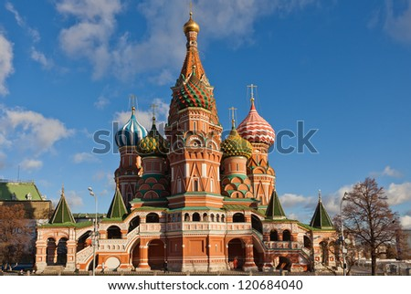 St Basil's cathedral on Red Square in Moscow - stock photo