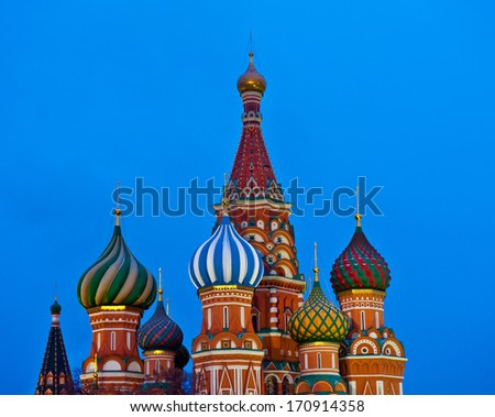 St. Basil's Cathedral on Red square in Moscow, Russia (evening)  - stock photo