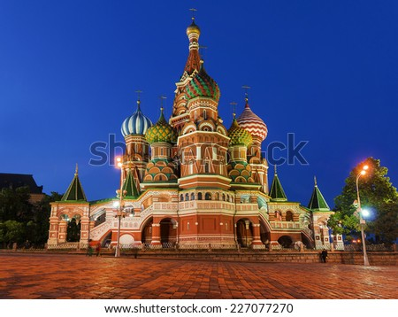 St. Basil's Cathedral on Red Square in Moscow, Russia. (Night view) - stock photo