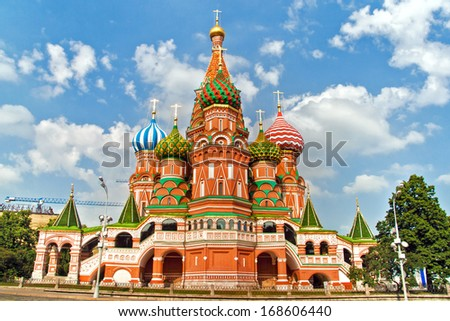 St. Basil's Cathedral side view, in Red Square, Moscow, Russia - stock photo