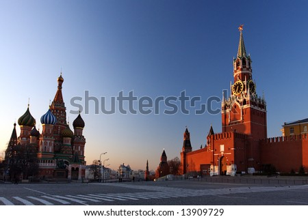 St. Basil's & The Kremlin at Moscow at Night from Red Square - stock photo