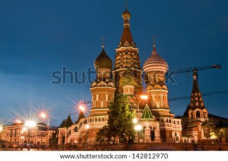 St Basils Cathedral at night - stock photo