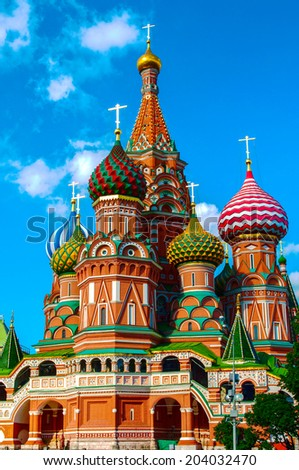 St. Basils cathedral on Red Square in Moscow  - stock photo