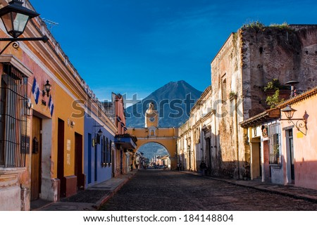St Catarina arc and volcano Antigua Guatemala - stock photo