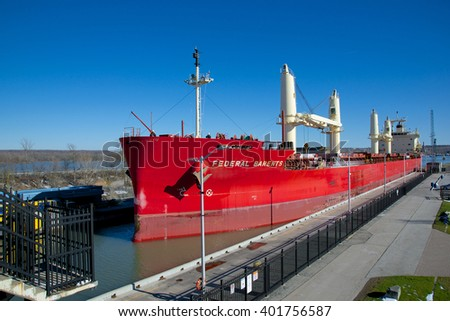 St. Catharines, Ontario, Canada - April 5, 2016: The Federal Barents lake freighter entering Lock Three while navigating north through the Welland Canal