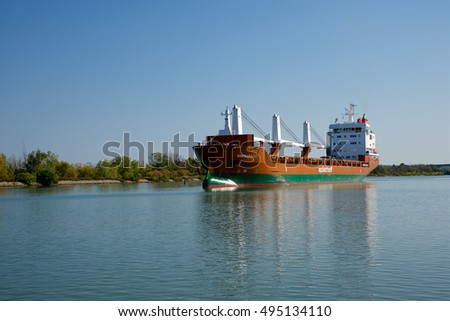 St. Catharines, Ontario, Canada - October 6, 2016: The Marsgracht general cargo ship navigating north down the Welland Canal between Lock 3 and Lock 2
