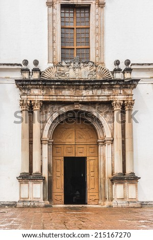 St. Catherine Cathedral (1640) - one of largest church in Asia is dedicated to Catherine of Alexandria. It is one of the most celebrated religious buildings in Goa. Old Goa, India. Detail of facade. - stock photo