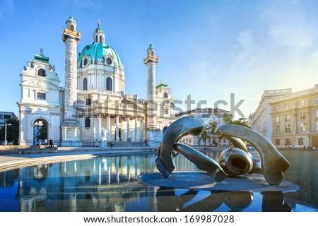 St. Charles's Church in Vienna, Austria - stock photo