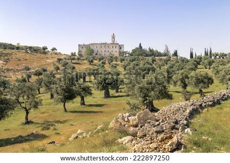 St. Elias Monastery and Olive Tree Field- Jerusalem - stock photo