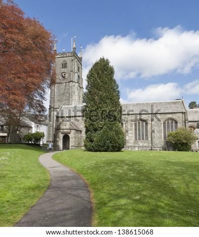 St Eustachius' parish church in the picturesque Devonshire town of Tavistock. - stock photo
