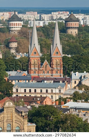 St. Francis Church and Water towers - twins, Riga, Latvia - stock photo