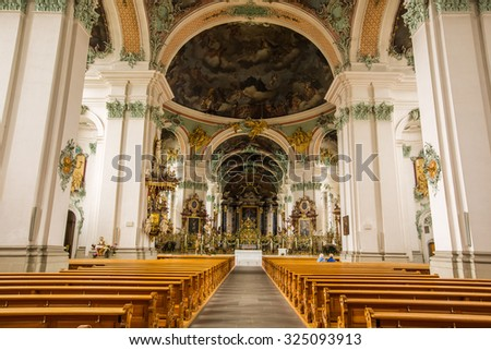 ST GALLEN, SWITZERLAND - APRIL 17: Abbey of Saint Gall on April 17, 2015 in St Gallen. The interior of the Cathedral is one of the most important baroque monuments in Switzerland.