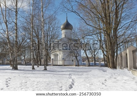 St. George Church in Pskov, Russia, taken from the east side - stock photo