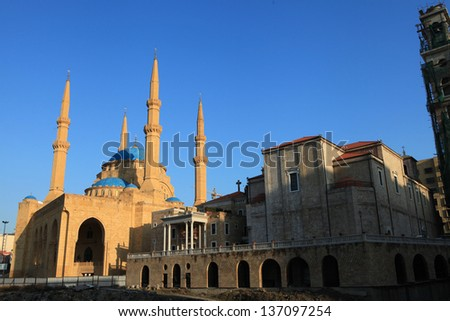 St  George Church next to the Hariri Mosque in Beirut - stock photo