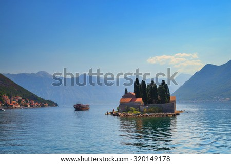 St.George Island in Montenegro under sunlight - stock photo