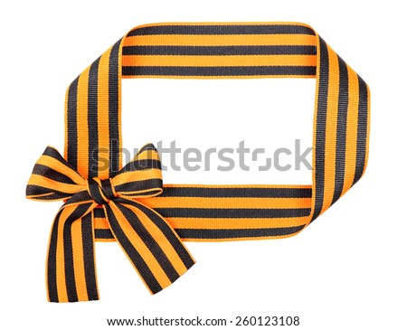 St. George ribbon as frame isolated on white background - stock photo