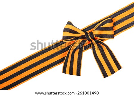 St. George ribbon as line with bow isolated on white background - stock photo