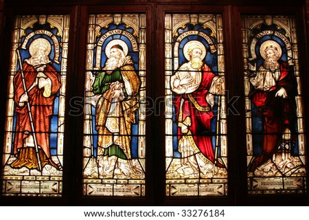 St. George's Anglican Cathedral stained glass art - four biblical prophets: Isaiah, Jeremiah, Ezekiel, Daniel. Perth, Western Australia. - stock photo