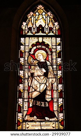 St. George's Anglican Cathedral stained glass art - Saint John The Evangelist. Perth, Western Australia.