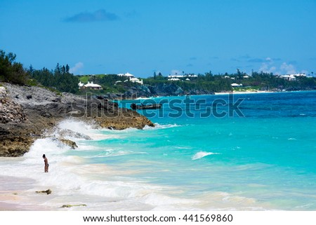 ST.GEORGEâ??S, BERMUDA, MAY 27 - Peaceful secluded beaches all along the North shore near St. Georgeâ??s Island on May 27 2016 in Bermuda.. - stock photo