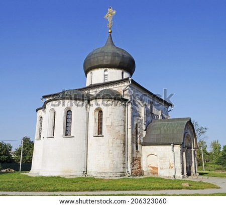 St. George's Cathedral (1234) in Yuriev-Polsky, Vladimir region, Russia. Golden Ring of Russia - stock photo
