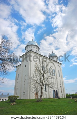 St. George's Cathedral, Russian orthodox Yuriev Monastery in Veliky Novgorod. Russia - stock photo