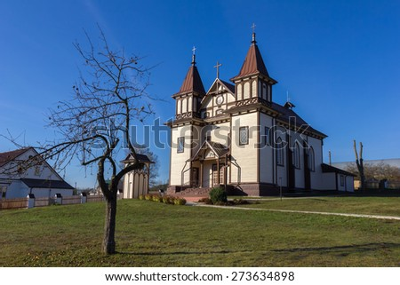 St. George's Catholic Church in Polonechka (Poloneczka), Belarus. Built in 1751, rebuilt in 1899 in Gothic Revival style. - stock photo