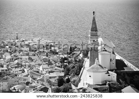 St. George's Parish Church in old town Piran - Slovenian - stock photo