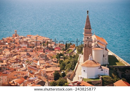 St. George's Parish Church in old town Piran - Slovenian