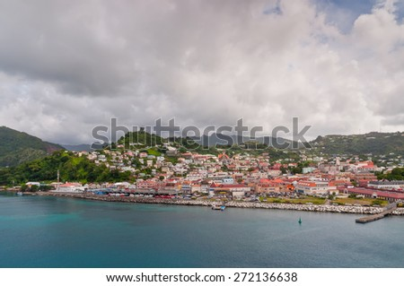 St. George's seen from ship. Built by the French in 1650, St. George's is the capital city of Grenada.  - stock photo