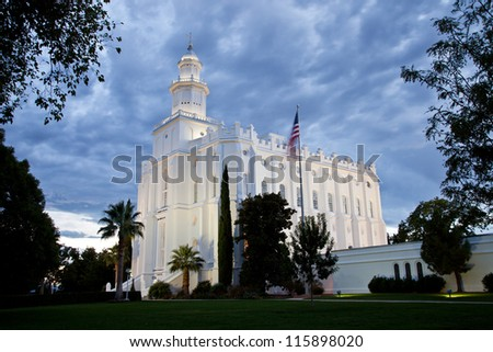St George Temple at Night with Cloud Cover - stock photo