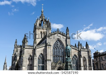 St. Giles Cathedral in Edinburgh, Scotland - stock photo